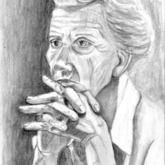 """""""Das bedrohte ICH"""" Bleistift auf gelbem Papier, 20 x 30 cm"""