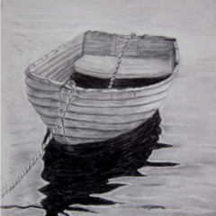 """Verlassenes Boot"" 40 x 60cm, Kohle auf grauem Papier"