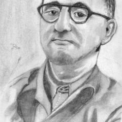 """""""Berthold Brecht"""" 20 x 30 cm, Kohle auf weißem Papier"""