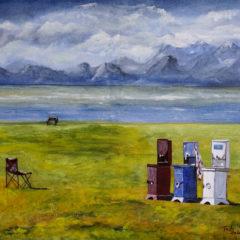 """""""Die Drei am Song Köl See; Kirgistan"""" Acryl auf Leinwand 50 x 60 cm"""