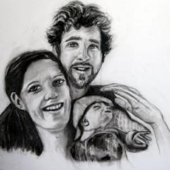 """""""Porträt mit Clara Lou """" 30 x 40 cm Kohle auf weißem Papier"""
