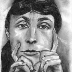 """""""Georgia O'Keeffe"""" 20 x 30 cm, Kohle auf weißem Papier"""