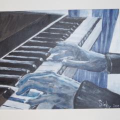 """""""Hände über Klaviertasten"""" Acryl auf weißem Papier 50 x 40 cm"""