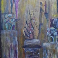 """""""Der kryptische Finger"""" Acryl auf Leinwand 40 x 60 cm"""