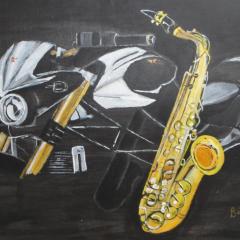 """""""Morini mit Saxophon"""" Acryl auf Leinwand 60 x 40 cm"""