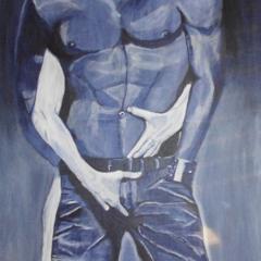 """Mann mit Jeans "" 100 x 80 cm Acryl auf Leinwand"