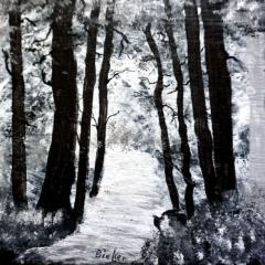 Bach im Wald Acryl auf Schieferplatte, 50 x 30 cm. Genutzt als feuerfeste Unterlage
