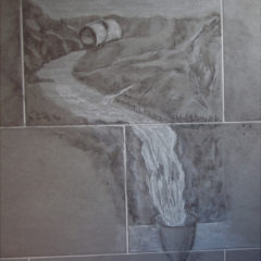 """""""Wasserkreislauf"""" Kohle & weiße Kreide auf Badezimmerwandfliese"""