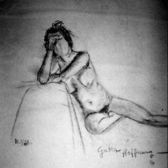"""""""Guter Hoffnung"""" 70 x 50 cm, Kohle auf grauem Papier"""