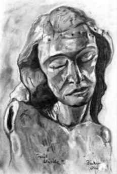 """""""Jesusfigur"""" 20 x 30cm, Kohle und weiße Kreide auf grauer Pappe"""
