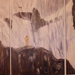 """""""Aufstieg zum Wasserfall"""" Acryl auf Leinwand 110 x 100 cm"""