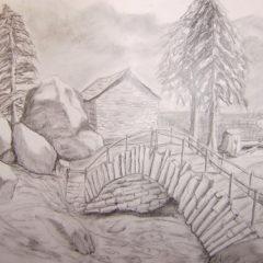 """""""Wo der Wildbach rauscht"""" 20 x 30 cm, Bleistift"""